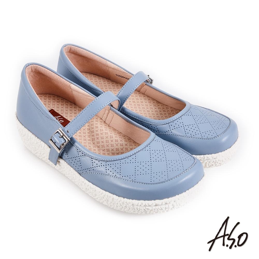 A.S.O 機能休閒 紓壓氣墊簡約條帶方楦休閒鞋-淺藍