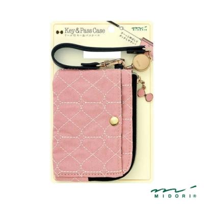 MIDORI 小物雜貨-伸縮式票夾(附鑰匙鍊)-蝴蝶結櫻花粉