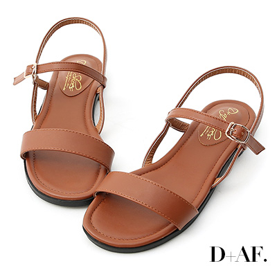 D+AF 自信漫步.一字寬版繫帶平底涼鞋*棕