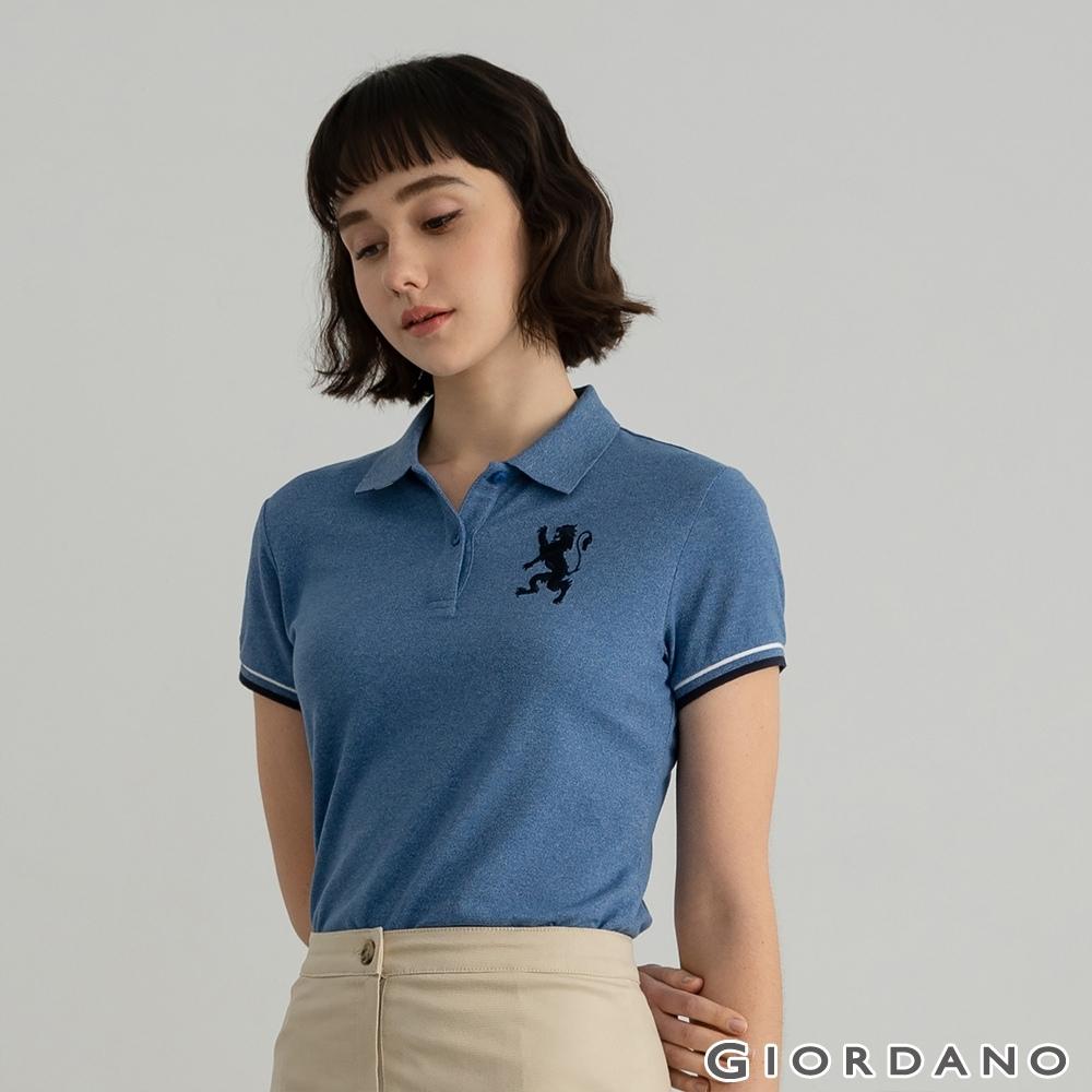 GIORDANO  女裝勝利獅王刺繡POLO衫 - 49 雪花中洗水藍