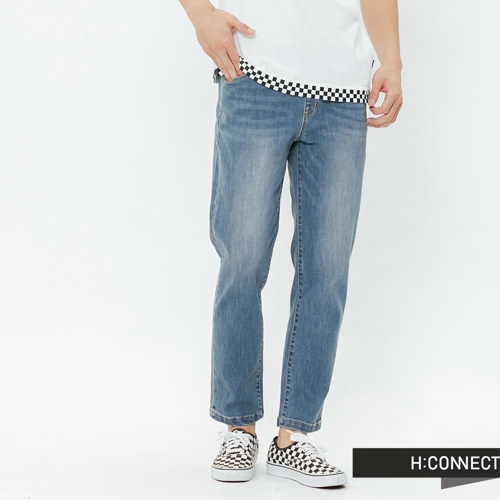 H:CONNECT 韓國品牌 男裝-鬆緊抽繩牛仔褲-藍
