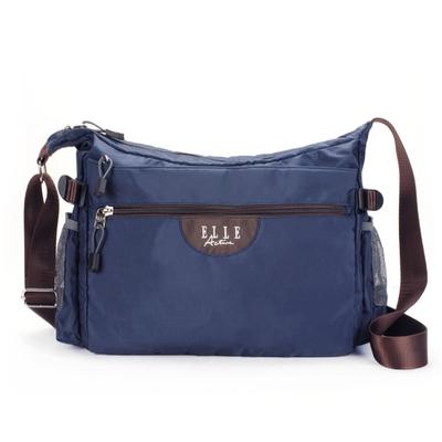 【ELLE Active】格紋系列-側背包/斜背包-大-藍色