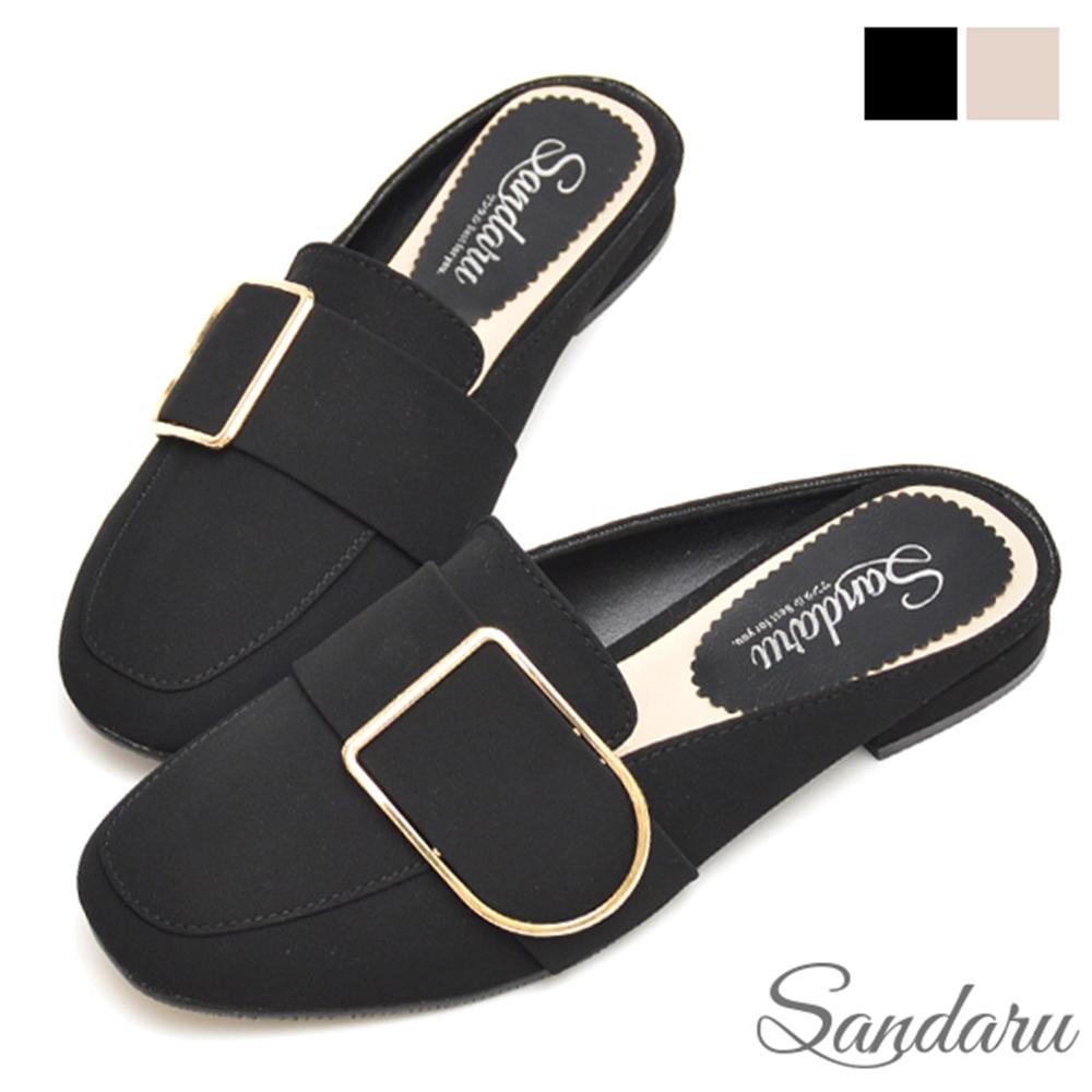 山打努SANDARU-穆勒鞋 簡約大方釦方頭拖鞋-黑