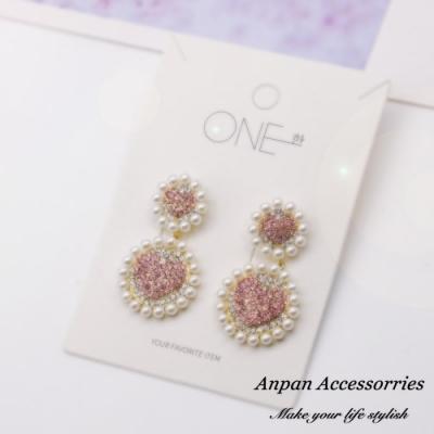 【ANPAN愛扮】韓東大門網紅款甜美愛心滿鑽貝珠環繞925銀針耳釘式耳環