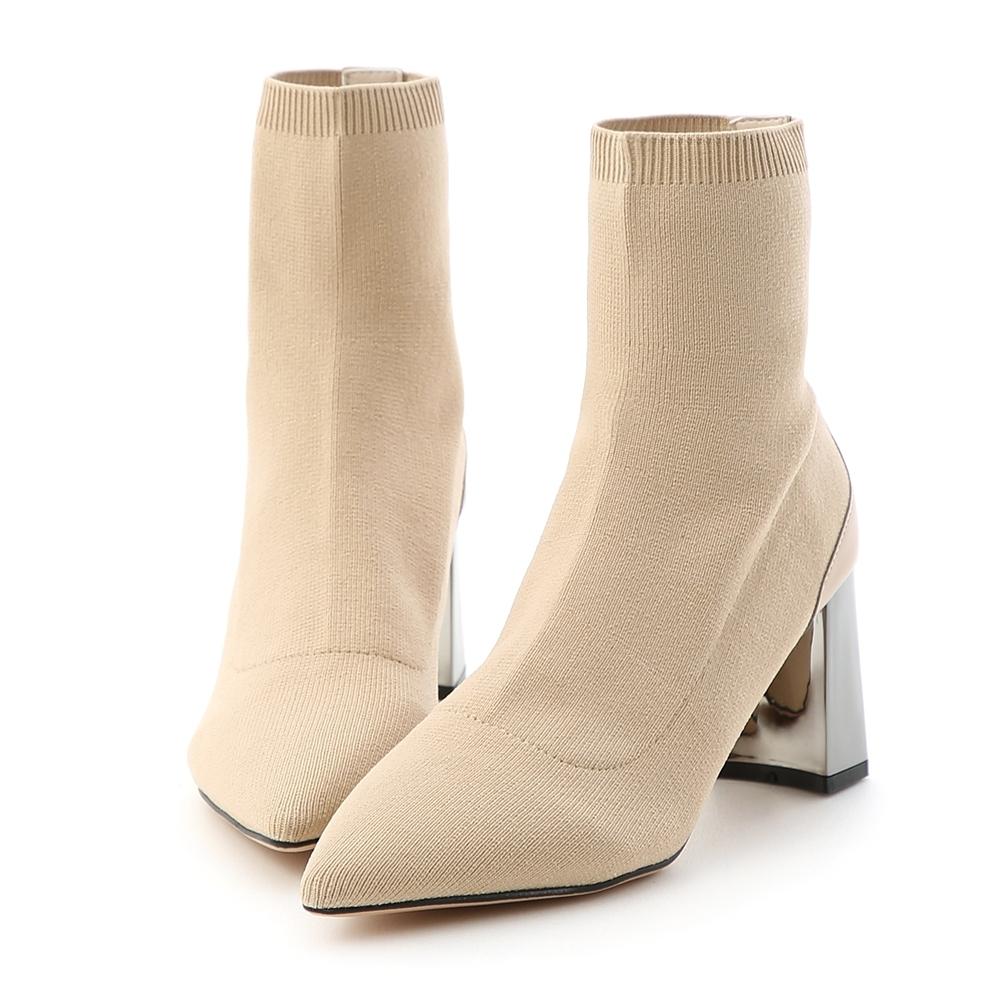 D+AF 聚焦魅力.彈力針織尖頭金屬跟襪靴*杏