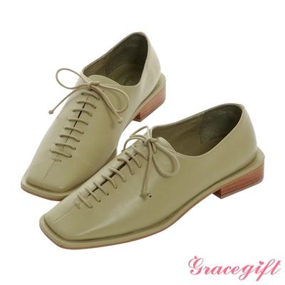 Grace gift X Mandy -聯名方頭縫飾細節低跟牛津鞋 綠