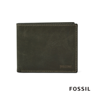 FOSSIL DERRICK 經典款LOGO壓印皮夾-灰色 ML4153257
