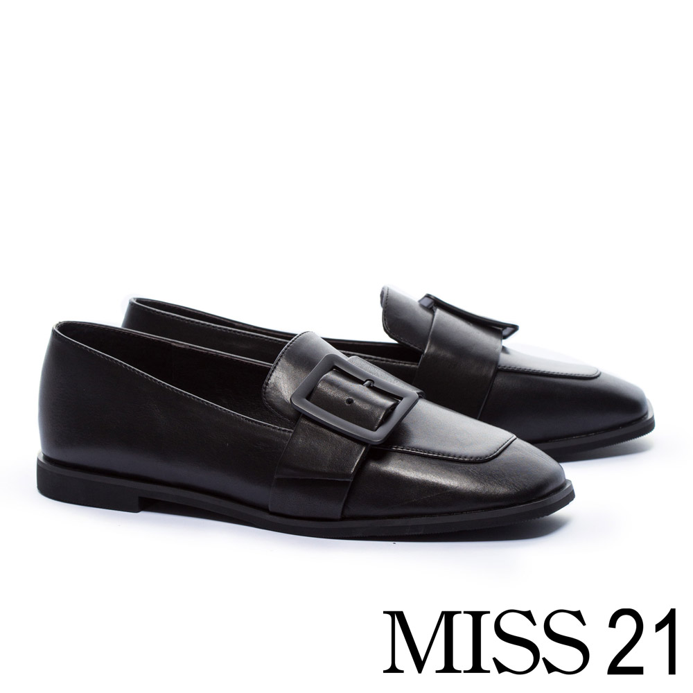 低跟鞋 MISS 21 復古文藝方釦帶全真皮方頭樂福低跟鞋-黑