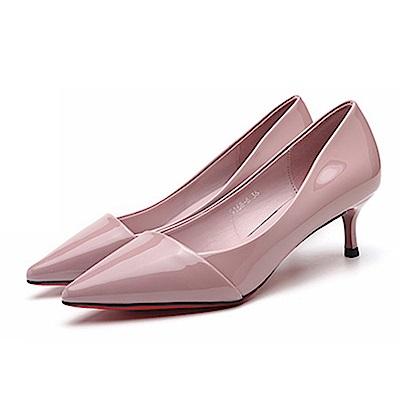 KEITH-WILL時尚鞋館 法式優雅尖頭純色跟鞋-紫色
