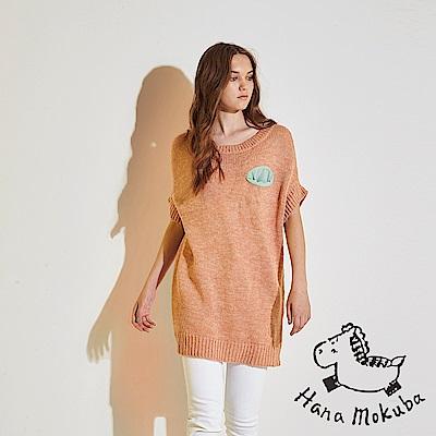 Hana+花木馬 時尚馬卡龍撞色拼接小口袋長版造型粗針織上衣-粉橘