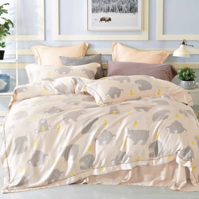 LAMINA 樂趣熊 加大100%天絲四件式兩用被套床包組