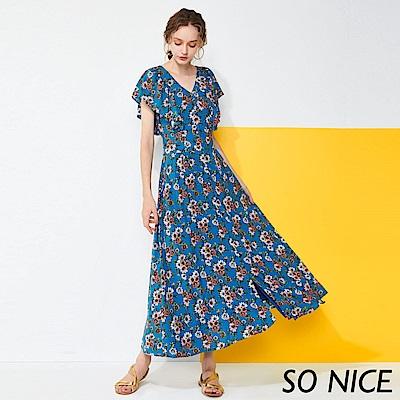 SO NICE復古荷葉袖碎花洋裝