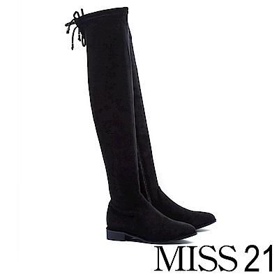 過膝靴 MISS 21 經典俐落彈力麂布後綁帶粗跟過膝靴-黑