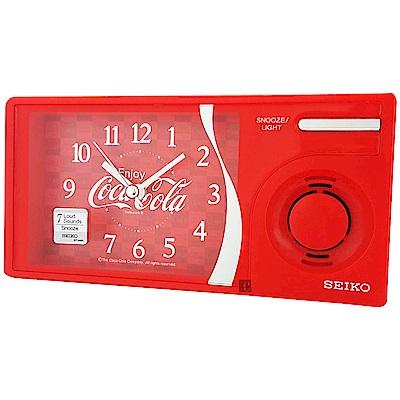 SEIKO 可口可樂聯名 滑動式秒針 音樂鬧鐘(QHP901R)-紅/15x7.5cm