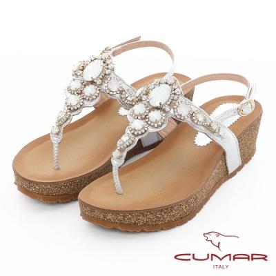 【CUMAR】情迷哈瓦那 -華麗大寶石波西米亞風格厚底台夾腳涼鞋-銀