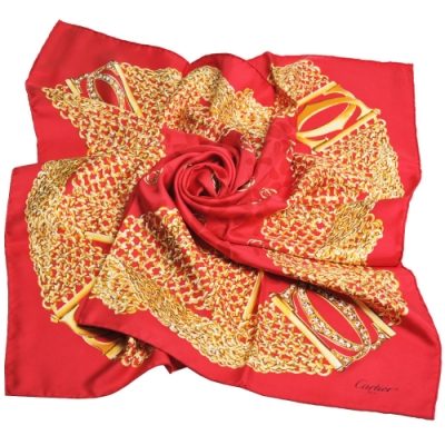 Cartier 法國製繽紛珠鍊LOGO圖騰100%絲質大絲巾(紅色)