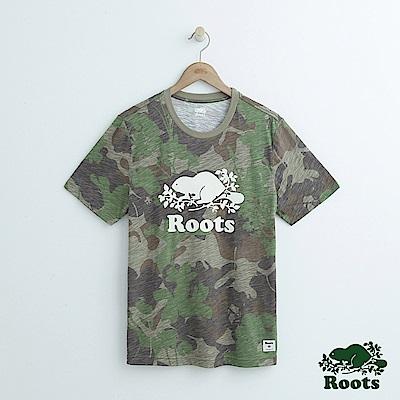 男裝Roots 迷彩短袖T恤-綠