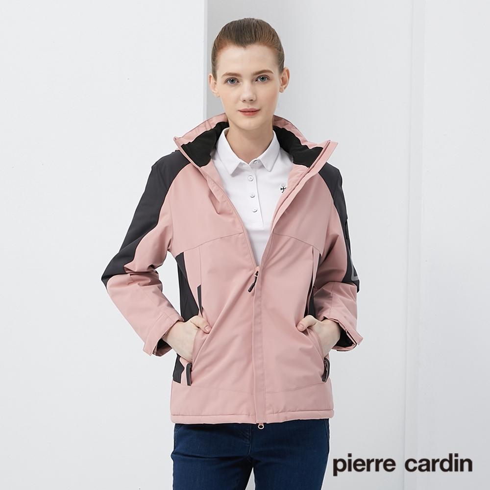 Pierre Cardin皮爾卡登 女裝 保暖抗寒加絨防潑水衝鋒衣外套-珊瑚粉色(8205791-72)