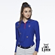 【Lynx Golf】女款遠紅外線保暖刷毛POKER圖樣繡花長袖POLO衫-寶藍色 product thumbnail 2