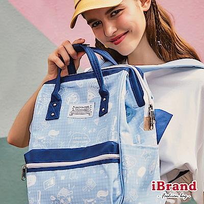 iBrand後背包 手繪塗鴉大開口手提後背包-藍色