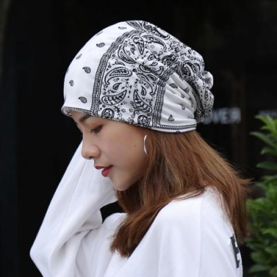 【89 zone】韓版優雅透氣民族風花花薄款套頭防風/頭巾帽(白)