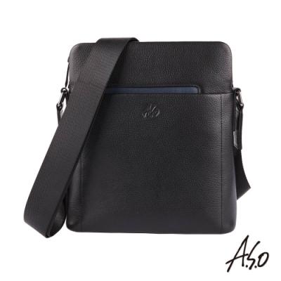 A.S.O職場通勤 極簡紳士直式極簡側背包-黑
