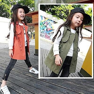 小衣衫童裝   時尚風衣式雙排扣長版背心1040832