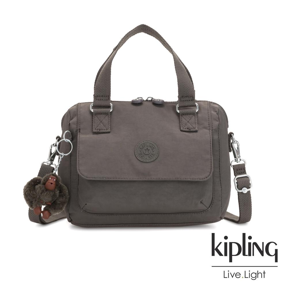 Kipling 極簡深卡其灰色翻蓋手提側背包-ZEVA