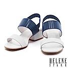 涼鞋 HELENE SPARK 個性異材質設計雙字帶繫帶牛皮高跟涼鞋-白