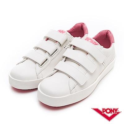 【PONY】TOP STAR時尚百搭魔鬼氈 小白鞋 休閒鞋 女鞋 粉紅色