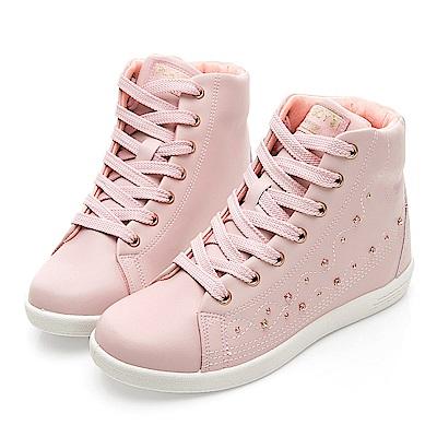 PLAYBOY 晶鑽高筒內增高休閒鞋-粉-Y522299