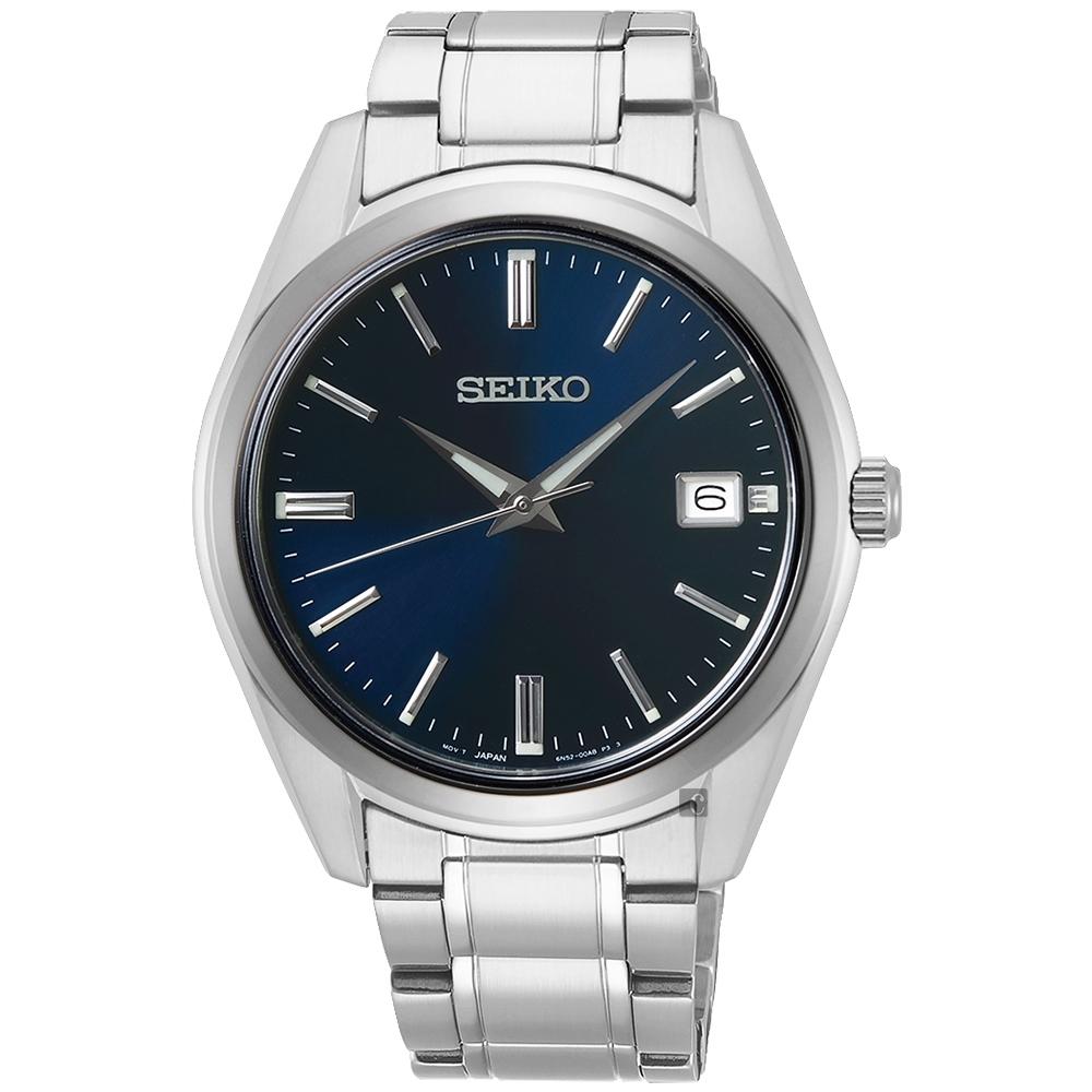 SEIKO 精工 CS 時尚石英手錶(SUR309P1)-藍x銀/39mm