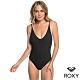 【ROXY】GARDEN SUMMERS 蕾絲鉤針高衩一件式泳裝 黑 product thumbnail 1