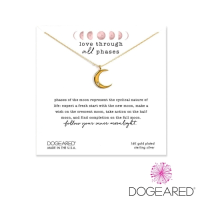 美國DOGEARED 弦月鋯石鍍金祈願項鍊 Love Through All Phases Crescent Necklace
