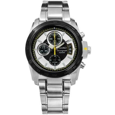 SEIKO 精工 三眼 藍寶石水晶玻璃 日期 防水100M 不鏽鋼手錶-銀x黑框/39mm
