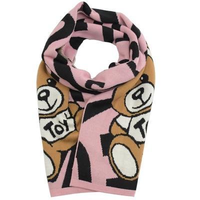 MOSCHINO TOY小熊圖案混紡羊毛針織圍巾(粉)