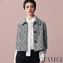 JESSICA - 率性幾何造型五分袖開襟外套(黑)