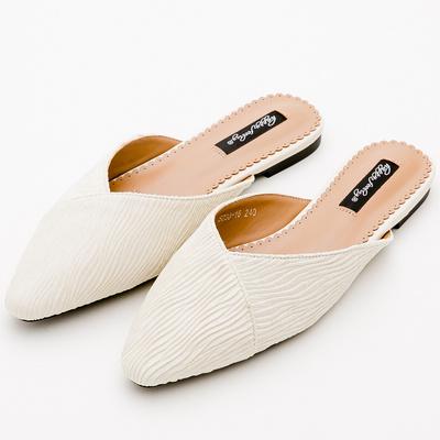 River&Moon素雅絲絨條紋尖頭低跟穆勒鞋*米