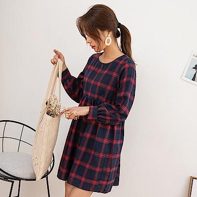 格紋寬鬆版洋裝-OB嚴選
