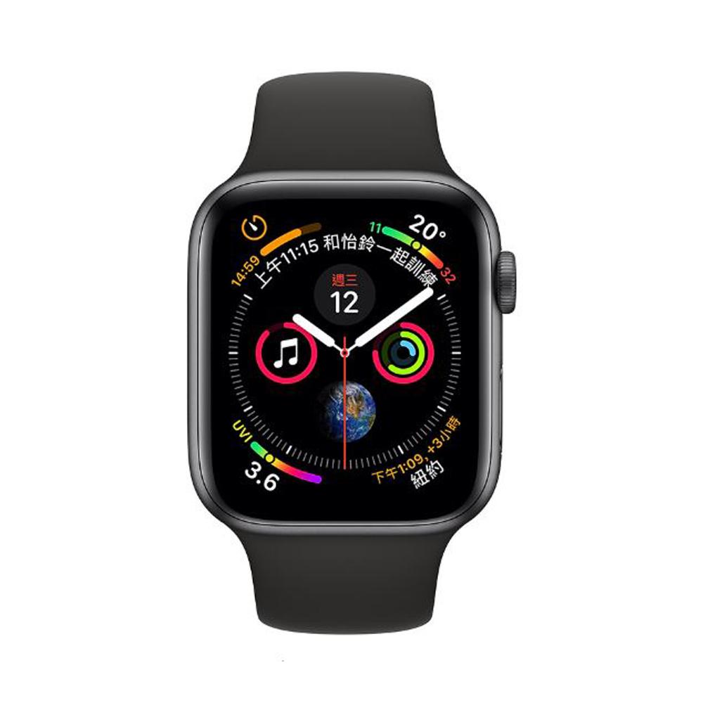 [無卡分期-12期]Apple Watch S4 44mm網路版灰鋁金屬錶殼配黑運動型錶帶