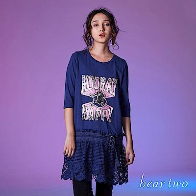 beartwo 文字剪接蕾絲下擺七分袖洋裝(2色)