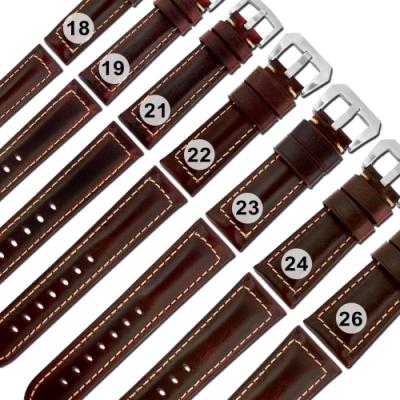 Watchband / 各品牌通用經典復刻百搭款厚實柔軟真皮錶帶-紅棕色