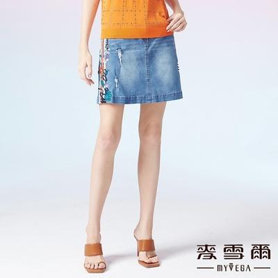 MYVEGA麥雪爾 織帶刺繡牛仔短裙-藍