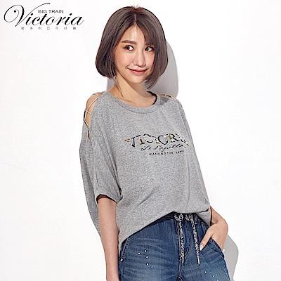 Victoria 挖肩綁帶設計縫珠寬鬆短袖T-女-麻灰