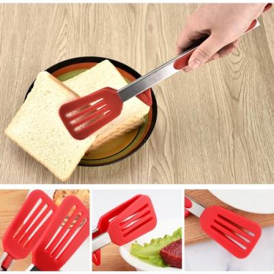(2入)立式矽膠料理夾鏟(氣炸鍋可用)贈小麥砧板隨機色(快)