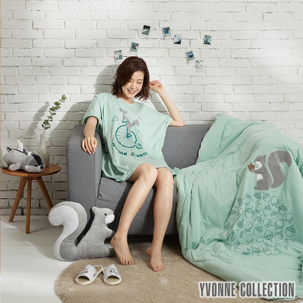 YVONNE COLLECTION 松鼠單人四季被(5x7呎)-正面:灰綠 /背面:淺灰白