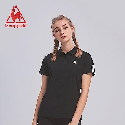 le coq sportif 法國公雞牌吸濕排汗肩條紋印花短袖POLO衫 女-黑