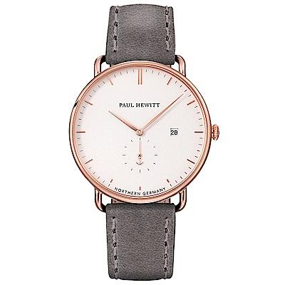 PAUL HEWITT 亞特蘭大系列 - 玫瑰金灰色皮革錶款