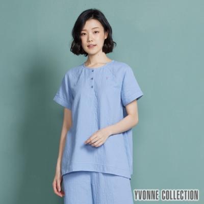 YVONNE 雙層紗半開襟不對稱下擺短袖上衣-灰藍