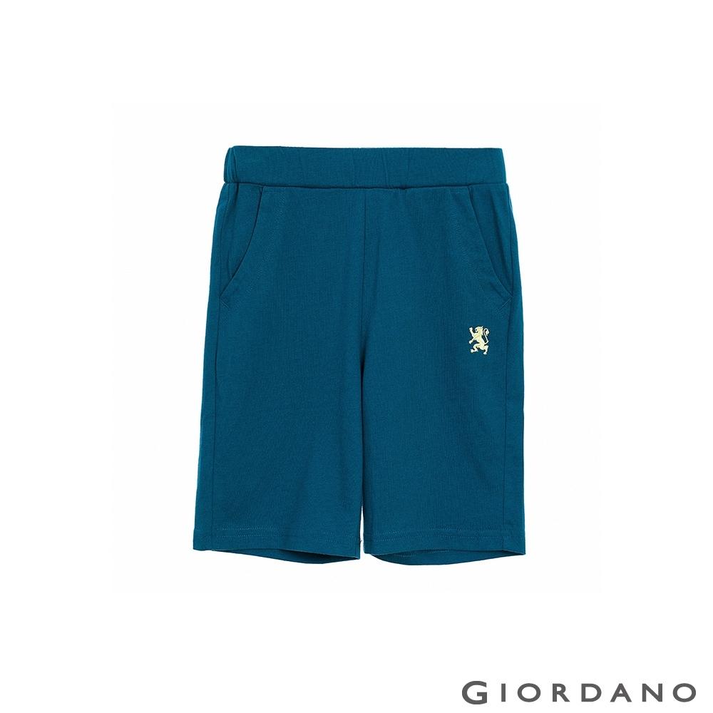 GIORDANO  童裝獅王刺繡短褲 - 68 摩洛哥藍